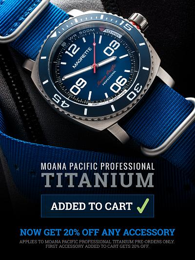 Get 20% Off Any Accessory when Pre-Ordering the Moana Pacific Professional Titanium